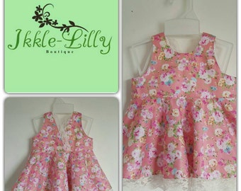 Pink floral peplum top- baby