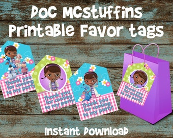 Doc Mcstuffins Favor tags, Doc Mcstuffins Gift tags, Doc Mcstuffins Goodie bag tag, Doc Mcstuffins party tag, Doc Mcstuffins bag tags