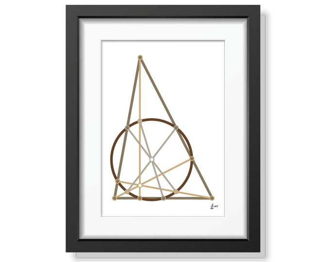 Nine point circle 04 [mathematical abstract art print, unframed] A4/A3 sizes