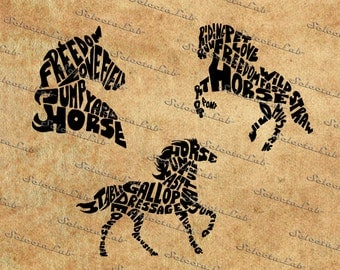 Digital SVG PNG horse wild animal typhography, freedom, love, nature, silhouette, clipart, vector, instant download