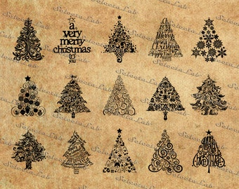 Digital SVG PNG christmas tree, santa claus, christmas decoration, xmas, silhouette, vector, clipart, instant download