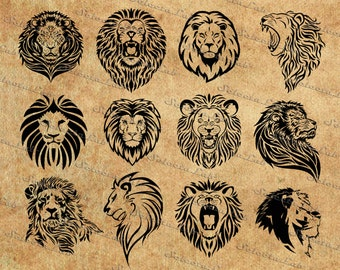 Digital SVG PNG lion clipart, africa, silhouette, vector, instant download