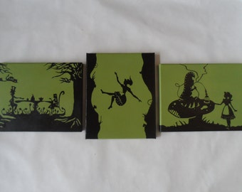 Alice In Wonderland Canvas Paintings - Set of 3 Alice, Mad Hatter, Caterpiller, Cheshire Cat