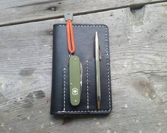 Cajun Field Notes EDC Organizer Black Full Grain Leather - Every Day Carry- Proudly Made In The USA! - Handmade By Cajun Leather Works
