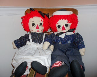 Handmade Raggedy Ann and Andy Dolls