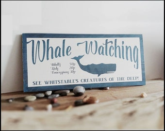 Whale Watching Sign, Vintage Poster Style