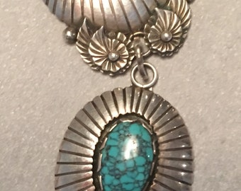 Vintage  Sterling Silver Turquoise & Covered Wagon Necklace