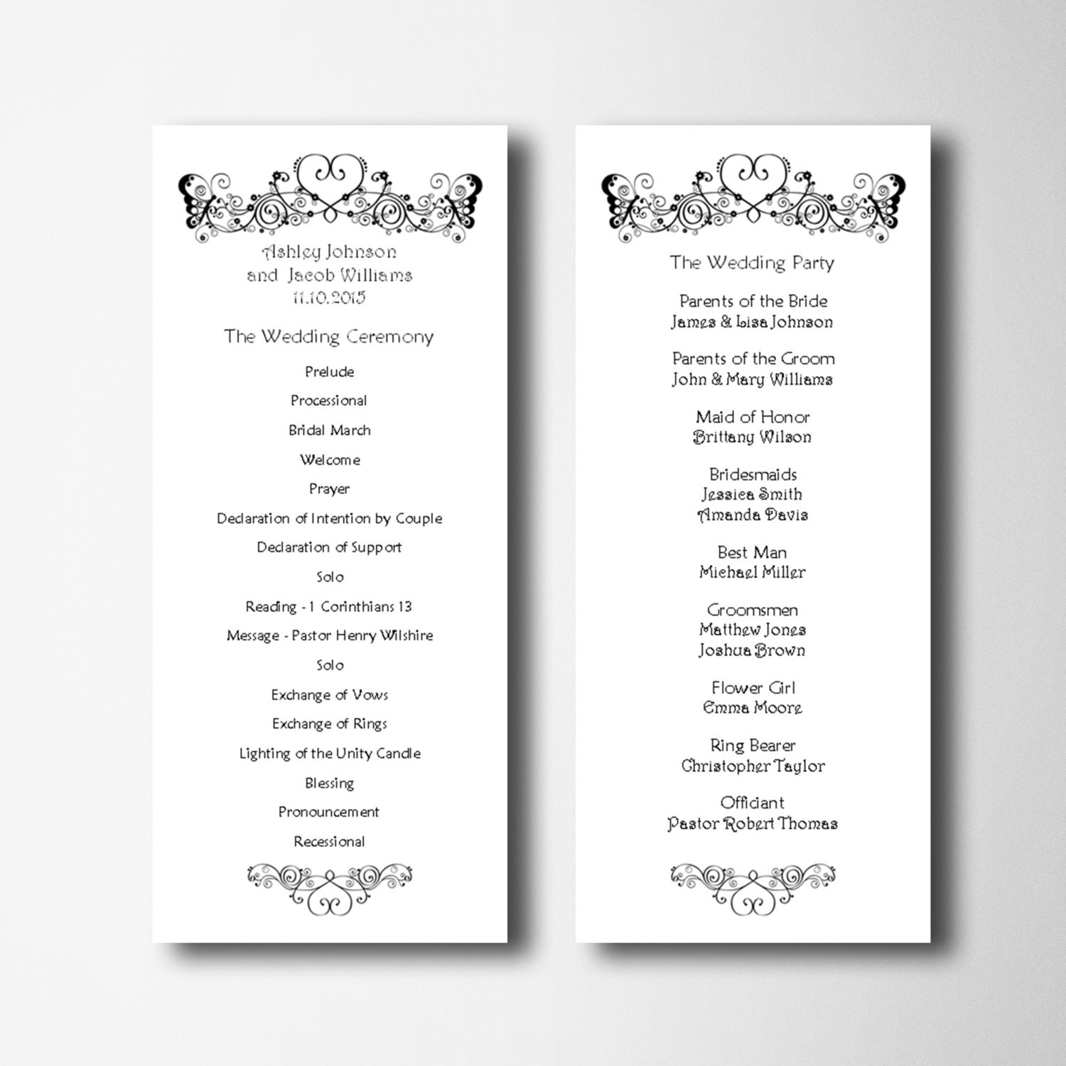 Elegant Wedding Program Template Simple Wedding Program Card
