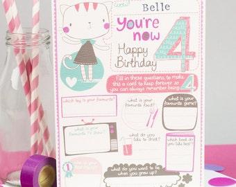4th birthday Card. Personalized 4th birthday card. Sentimental birthday card. Card to Keep.  Tandem Green.