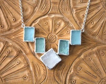 Sterling Silver Aquamarine & White Quartz Necklace