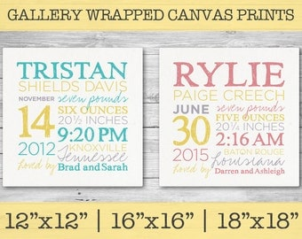 "Birth Facts Canvas Print - Boy or Girl - Gallery Wrap - Custom Baby Kid Room Hanging Wall Art - 12"" x 12"" or 16"" x 16"" or 18"" x 18"""