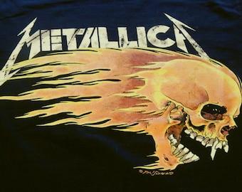 Vintage Metallica Flaming Skull Tour 1994  Summer Sh*t T Shirt Pushead X-L