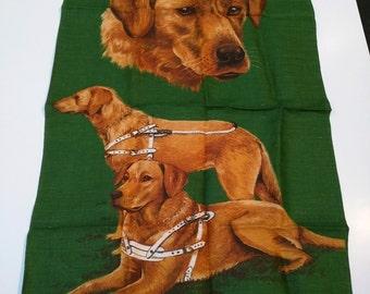 Vintage Linen Tea Towel Guide Dogs for the Blind Association, Golden Labradors, Dog Lovers Gift