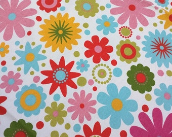 Vintage Material, Bright Multicoloured Flowers, Cotton Fabric,  1.53 mtrs x 1.28 mtrs, Vintage Sewing Material