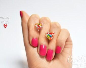 Resin Stud Earrings, Heart Earrings, Sprinkles Jewelry, Candy Sprinkles, Colorful Earrings, Rainbow Earrings, Resin Earrings, Epoxy Earrings
