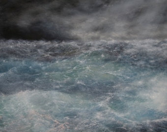 Large Stormy Seascape Oil Painting 120 cm x 100 cm Traditional Art