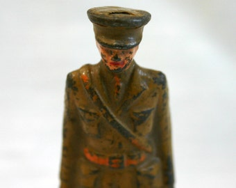 Vintage, cast iron soldier.
