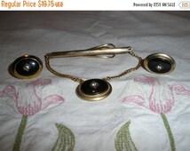 Anson Cuff Links Tie Clasp Vintage 1950's Faux Onyx Rhinestone Mens Accessory Jewelry - Jew0219