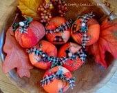 Rustic Fabric Pumpkins Set of Six, Fall/Autumn/Harvest/Halloween/Thanksgiving Pumpkin Decor, Party Favors, Table Centerpiece, Country Decor