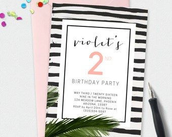 Custom Printable Birthday Party Invitation l Modern Tropical Chic