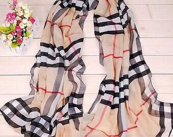 Plaid scarf, women fashion long wrap, ladies shawl chiffon plaid scarf. spring scarf, summer scarf, autumn scarf, gift idea