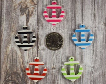 Anchor resin - Nautical resin - Nautical theme baby shower - Cute striped cabochon - 5 piece - Jewelry DIY - Hair bow DIY - Crafting supply