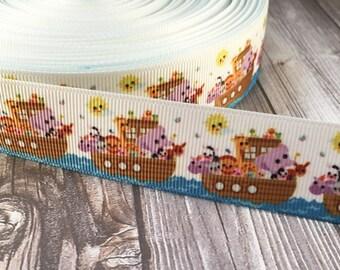 Noahs Ark ribbon - Boat ribbon - Christian ribbon - Animal ribbon - Ocean ribbon - Biblical ribbon - 40 days and 40 nights - Church craft