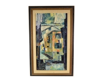 Vintage Mid-Century Modern Abstract Architectural Painting Rosenstone Chicago artist