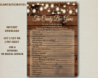 Bridal Shower Candy Game, Candy Bar Game, Rustic Bridal Shower, Baby Shower Game, Rustic Shower, Bridal Shower, Wood, Rustic, Wedding Game