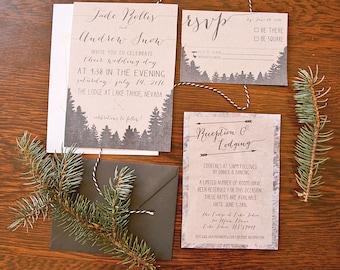 Printable Woodland Wedding Invitation Suite >> Rustic Wedding Invitation >> Camp Wedding  >> Park Wedding  >> Forest Wedding Invitation