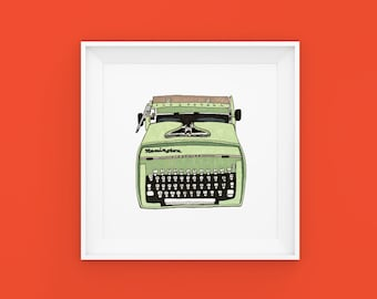 8x8 Typewriter Illustration Art Print