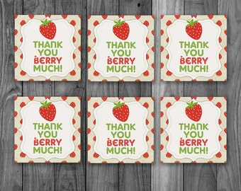 Strawberry Party Tags - Strawberry Birthday Party  - Printable Strawberry Thank You Berry Much Party Tags - Strawberry First Birthday Party