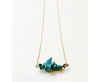 Turquoise Chip Delicate Necklace