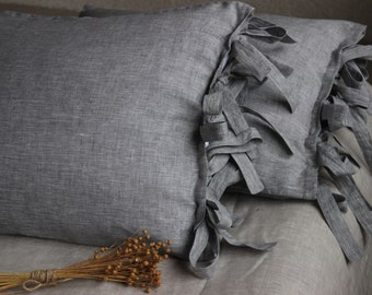 100% Organic Rustic Linen Pillowcase with 5 ties Stone Washed Natural Eco Pillow Sham King Standard Euro Queen size AU US Natural Bedding
