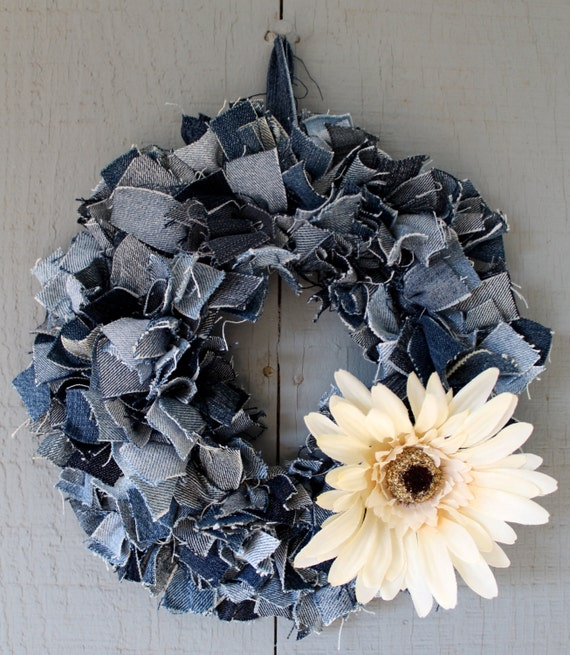 Denim wreath candle ring centerpiece accented with fall