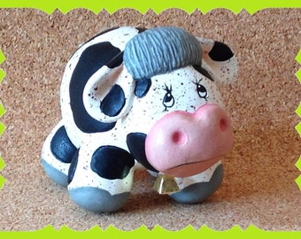 House Warming-Gift-New Home-Ceramic-Country-Cow-Bovine-Decor-Folk Art-Figurine-Birthday-Mother's Day