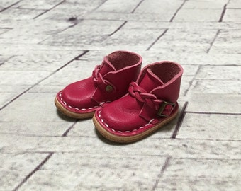 Real leather: miniature ankle boots [Berry pink] (for blythe)