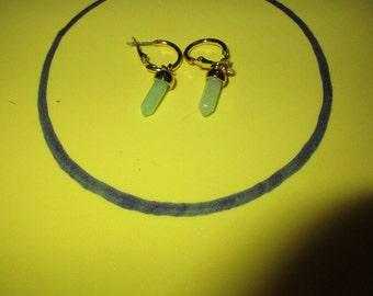Light Green Crystal Hoop Earrings