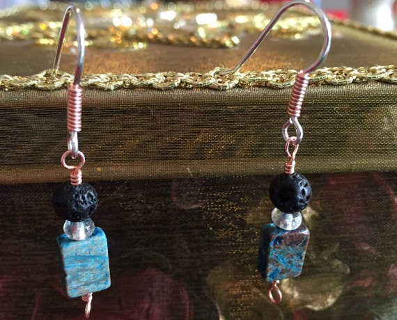 Sterling Silver and Copper Earrings with Calsilica Stones and Lava Beads for Essential Oil Aromatherapy