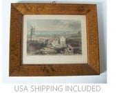 Antique Steel Engraving of Cardiff By W.H. Bartlett