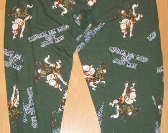 ANIMAL HOUSE Quotes Green Pajama Lounge Pants Mens Sz Medium 32-34
