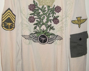 DRAGONFLY Long Sleeve THERMAL Sweater MILITARY Style Airborne shirt Sz Medium