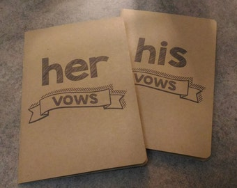 His / Hers Vow Cards - Chalkboard Font