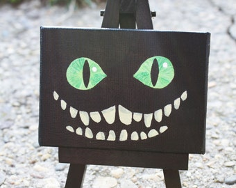 Smiling Cheshire Cat Glow in the Dark Mini Canvas Painting