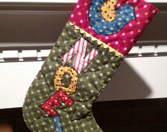 "Vintage Quilted Calico Christmas Stocking ""Noel"" 1970s"