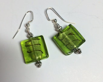 Murano glass square earrings; green, handmade with love, gift, Mother's Day