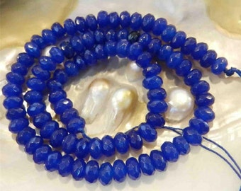 Faceted Sapphire Rondelle Gemstones -  Blue Beads 6x4mm 10pcs