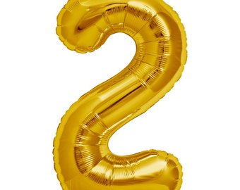 "JUMBO Number 2 balloon. 34"". Second birthday number balloon. Gold number two balloons. Big number balloons. Large gold number 2 balloon"