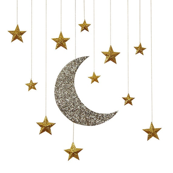 Moon and stars hanging decoration twinkle twinkle little for Stars decorations for home
