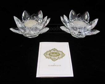 Shannon Crystal Lotus Tealite Candle Holders
